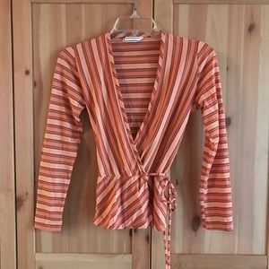 Vintage 70s coral stripe wrap top small medium